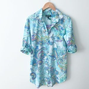RALPH LAUREN Blue Paisley Sleep Shirt Pajama Shirt